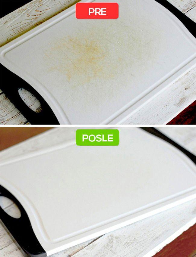 Ciscenje daske za seckanje pre i posle